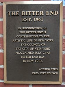 Plaque for The Bitter End club
