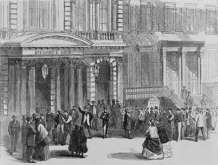 Buying tickets for a Charles Dickens reading at Steinway Hall, New York, 1867