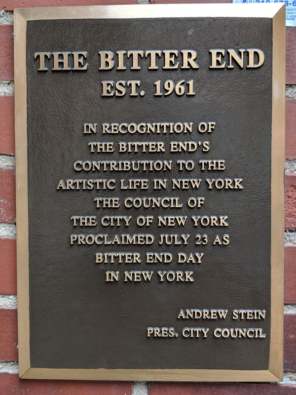 The Bitter End plaque
