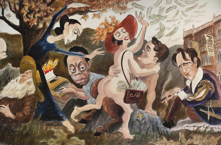 Waverly Murals - Edward Sorel Mural James Baldwin et al