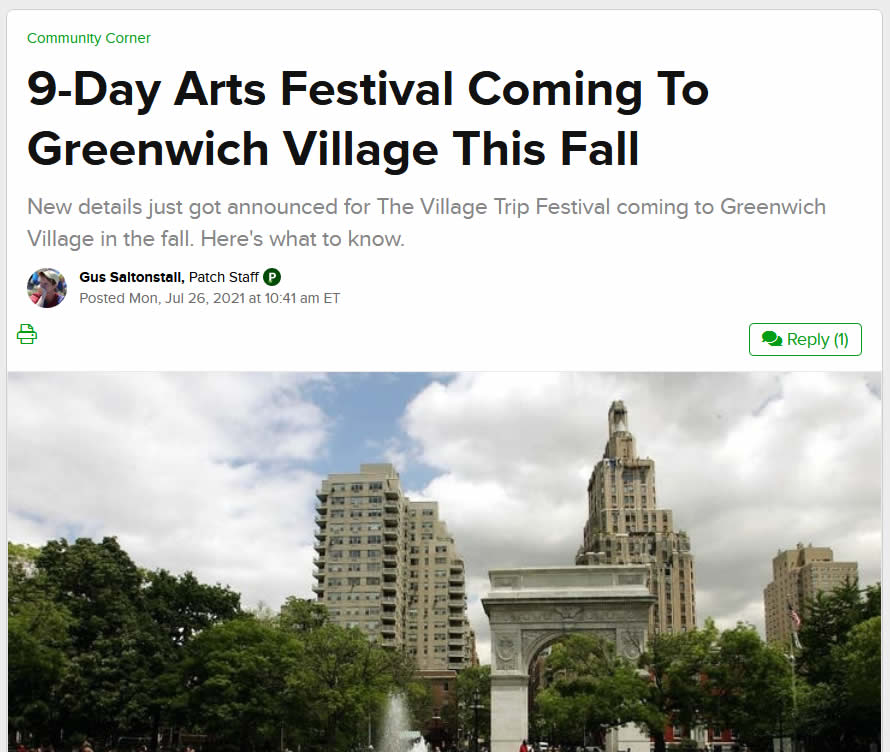 9-Day Arts Festival Coming To Greenwich Village This Fall