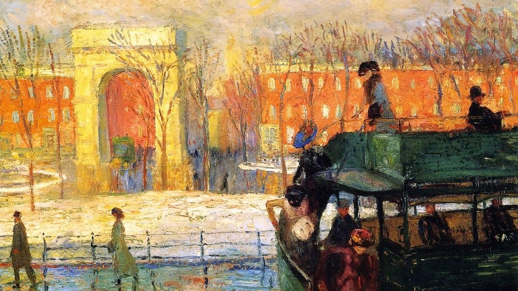 Glackens 1910 Descending from the Bus